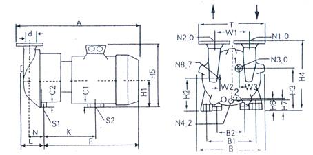 2BV水环式真空泵的安装尺寸