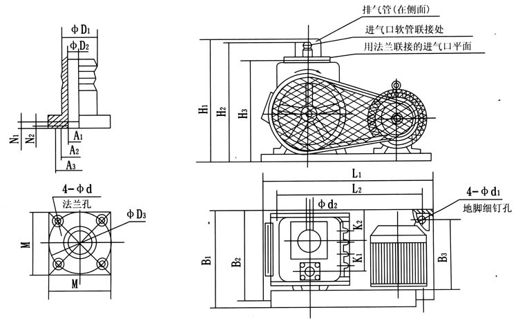 Installation dimension table of 2X-4A two-stage rotary vane vacuum pump